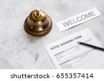 booking form for hotel room... | Shutterstock . vector #655357414