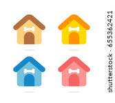 dog house icon vector set | Shutterstock .eps vector #655362421