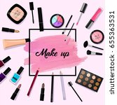 make up background. pink brush... | Shutterstock .eps vector #655363531