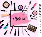 make up background. pink brush... | Shutterstock .eps vector #655363531