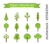 vector super set of flat trees.   Shutterstock .eps vector #655363564