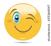 smiley face with winking eye... | Shutterstock .eps vector #655364047