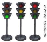 traffic lights isolated on...   Shutterstock . vector #65536522