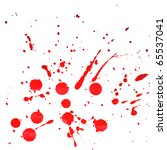 Splattered red watercolor stains on a white background - stock photo