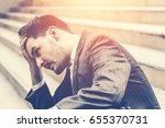 unemployed businessman stress... | Shutterstock . vector #655370731