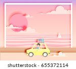 road trip on the beach with... | Shutterstock .eps vector #655372114