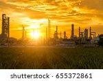 sunrise scence of oil refinery... | Shutterstock . vector #655372861