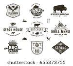 set of vintage steak house  bbq ... | Shutterstock . vector #655373755
