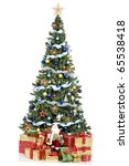 christmas tree and gifts. over... | Shutterstock . vector #65538418