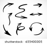 hand drawn arrows  vector set | Shutterstock .eps vector #655400305