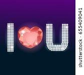 i love u sparkling text gems on ...   Shutterstock .eps vector #655409041