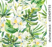 watercolor floral seamless... | Shutterstock . vector #655409755