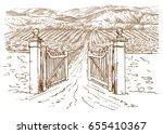 Vineyard Entrance. Hand Drawn...