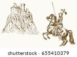 knight on horseback  castle in... | Shutterstock .eps vector #655410379