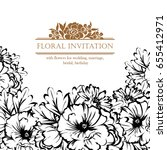 invitation with floral... | Shutterstock . vector #655412971