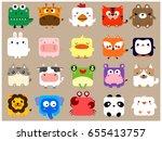 Stock vector cute kawaii animal icon face set 655413757