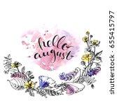 hand drawn ink wild flowers... | Shutterstock .eps vector #655415797