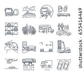 set of thin line icons... | Shutterstock .eps vector #655416469