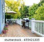 clean outdoor cedar wooden deck ... | Shutterstock . vector #655421335