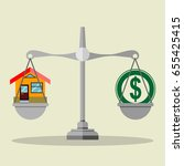 dollar coin and house on scales.... | Shutterstock .eps vector #655425415