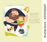 cute daughter reading bedtime... | Shutterstock .eps vector #655426069