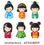 Japanese Kokeshi Dolls Icons....