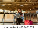 airport young female passenger... | Shutterstock . vector #655431694