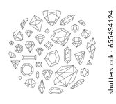 creative trendy set of diamond... | Shutterstock .eps vector #655434124