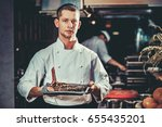 food concept. young handsome...   Shutterstock . vector #655435201