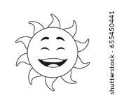 outlined sunny face smiling... | Shutterstock .eps vector #655450441