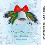 christmas bell with red bow on...   Shutterstock .eps vector #65545087