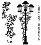 antique street light among rose ... | Shutterstock .eps vector #655454884