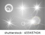 set of golden glowing lights... | Shutterstock .eps vector #655457434