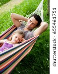 father and daughter sleeping in ... | Shutterstock . vector #655461751