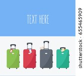 four luggage in the airport.... | Shutterstock .eps vector #655465909