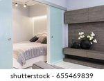 modern white living studio with ... | Shutterstock . vector #655469839
