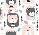 seamless pattern with teddy... | Shutterstock .eps vector #655471147