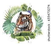 color illustration of a tiger....   Shutterstock .eps vector #655473274
