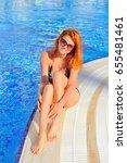 sexy model in bikini near... | Shutterstock . vector #655481461