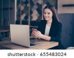 young business lady is smiling... | Shutterstock . vector #655483024