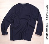 wrinkled blue navy sweater on... | Shutterstock . vector #655483639