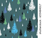 fir trees white  black and blue ... | Shutterstock . vector #655484017
