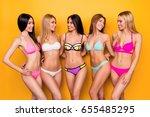 five cheerful brunette  blond...   Shutterstock . vector #655485295