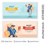 deliveryman and ad text.... | Shutterstock .eps vector #655488181