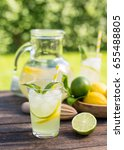fresh lemonade with ice  | Shutterstock . vector #655488805