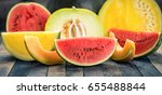 fresh watermelons and melons  | Shutterstock . vector #655488844