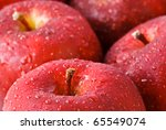 Drops Of Water On Red Apples