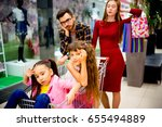 family tired with shopping | Shutterstock . vector #655494889