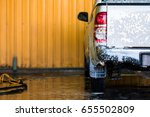 white car with white soap on... | Shutterstock . vector #655502809