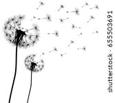 silhouette of a dandelion on a... | Shutterstock .eps vector #655503691